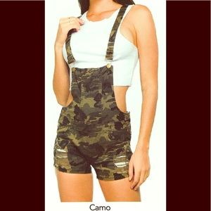 Distressed Color Short Overall